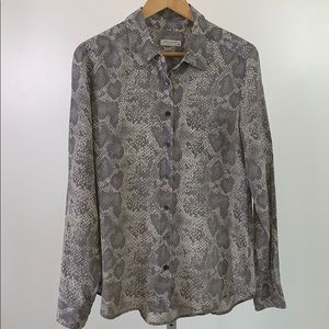 EQUIPMENT Silk Snake Print Button Down Shirt SZ L